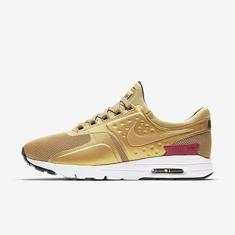 on sale b48ae 21061 Chaussure Nike Air Max Zero Pour Femme Lifestyle Or Métallique Blanc Noir Rouge  Intense NO. 863700-700