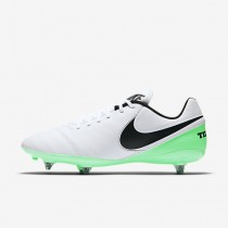 Chaussure Nike Tiempo Genio Ii Leather Sg Pour Homme Football Blanc/Vert Electro/Noir_NO. 819715-103
