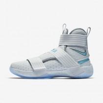Chaussure Nike Lebron Soldier 10 Flyease Pour Homme Basketball Platine Pur/Gris Froid/Blanc/Ciel Éclatant_NO. 917338-040