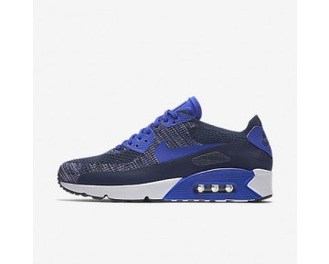 Chaussure Nike Air Max 90 Ultra 2.0 Flyknit Pour Homme Lifestyle Bleu Marine Collège/Blanc/Noir/Bleu Souverain_NO. 875943-400