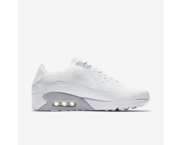 Chaussure Nike Air Max 90 Ultra 2.0 Flyknit Pour Homme Lifestyle Blanc/Platine Pur/Blanc/Blanc_NO. 875943-101