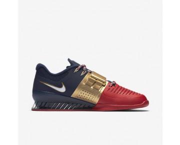 Chaussure Nike Romaleos 3 Freedom Pour Homme Fitness Et Training Bleu Nuit Marine/Rouge Université/Blanc_NO. AA3154-400