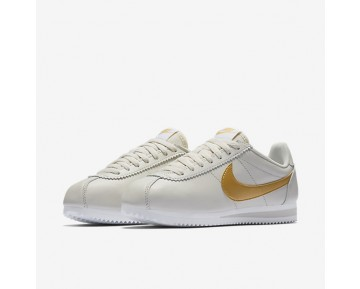 Chaussure Nike Classic Cortez Pour Femme Lifestyle Beige Clair/Blanc/Or Métallique_NO. 807471-011