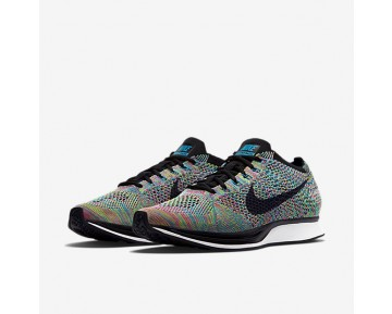 Chaussure Nike Flyknit Racer Pour Femme Lifestyle Vert Impact/Bleu Lagon/Rose Framboise/Noir_NO. 526628-304