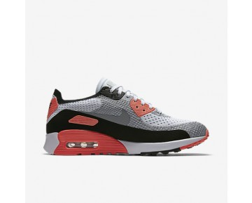 Chaussure Nike Air Max 90 Ultra 2.0 Flyknit Pour Femme Lifestyle Blanc/Cramoisi Brillant/Noir/Gris Loup_NO. 881109-100