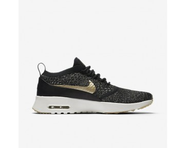 Chaussure Nike Air Max Thea Ultra Flyknit Metallic Pour Femme Lifestyle Noir/Ivoire/Étoile D'Or Métallique_NO. 881564-001