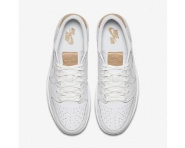 Chaussure Nike Air Jordan 1 Retro Low Og Premium Pour Homme Lifestyle Blanc/Blanc/Brun Vachette_NO. 905136-100