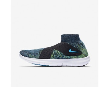 Chaussure Nike Free Rn Motion Flyknit 2017 Pour Homme Running Noir/Volt/Blanc/Bleu Chlorine_NO. 880845-004