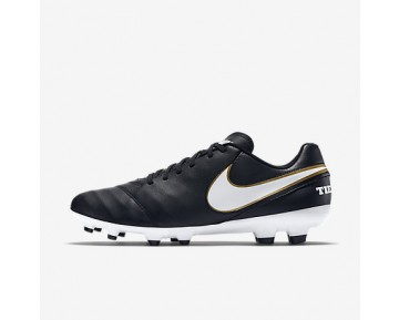 Chaussure Nike Tiempo Genio Ii Leather Fg Pour Homme Football Noir/Blanc_NO. 819213-010