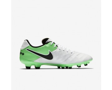 Chaussure Nike Tiempo Genio Ii Leather Fg Pour Homme Football Blanc/Vert Electro/Noir_NO. 819213-103