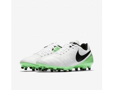 Chaussure Nike Tiempo Genio Ii Leather Fg Pour Homme Football Blanc/Vert Electro/Noir_NO. 819213-103