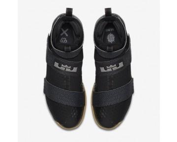 Chaussure Nike Lebron Soldier 10 Flyease Pour Homme Basketball Noir/Gomme Marron/Gris Foncé Métallique/Gris Foncé Métallique_NO. 917338-009